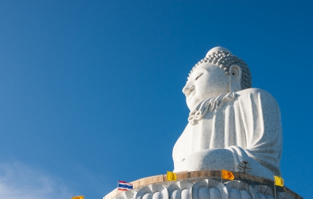 marmorate: Phuket, Thailand  - FEBRUARY 14: The marble statue of Big Buddha, on February 14, 2013. The construction is made only on donations. Stock Photo