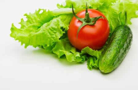 Fresh red tomatoes on lettuce leaves Stock Photo - 18725765