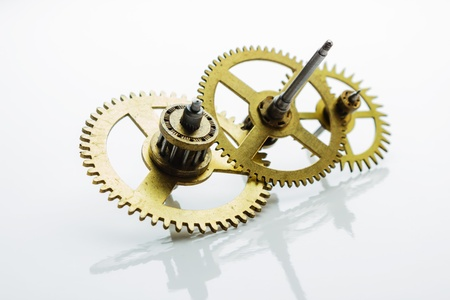 escapement: clockwork gear on white background  Stock Photo