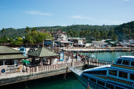 PHI-PHI KRABI, THAILAND - FEBRUARY 16  Port is on the famous island Phi-Phi Don, on February 16, 2013,  Krabi Province, Thailand