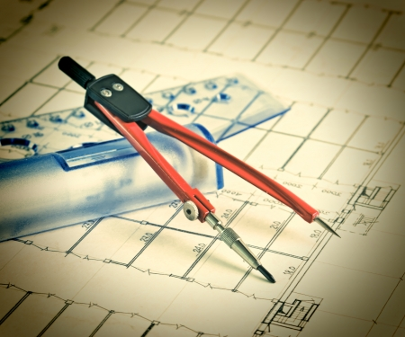 plot: Vintage architectural drawing with a ruler and compass Stock Photo