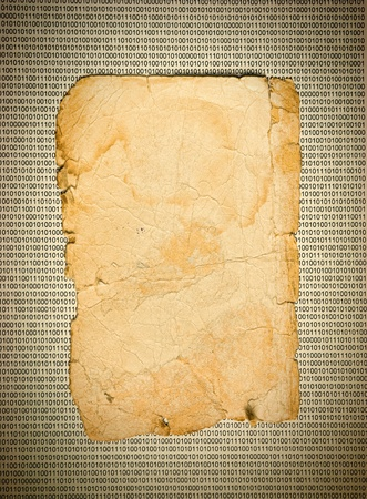 old paper on the background of a binary code Stock Photo - 18882036