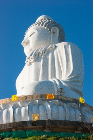 marmorate: Phuket, Thailand  - FEBRUARY 14: The marble statue of Big Buddha, on February 14, 2013. The construction is made only on donations. Editorial