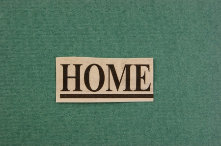 word home cut from newspaper on green background photo