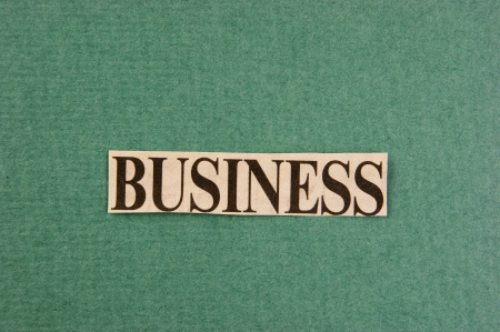 word business cut from newspaper on green background photo