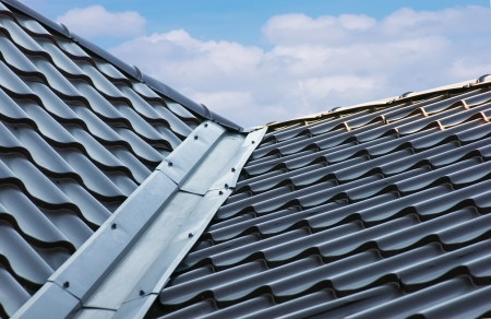 blue  metal tile roof Stock Photo