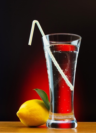 glass of soda water and lemon photo