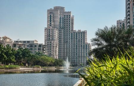 DUBAI, UAE - NOVEMBER 12: General view of the Dubai Marina district Greens, on November 12, 2012, Dubai, UAE. Dubai was the fastest developing city in the world between 2002 and 2008. Stock Photo - 19325696
