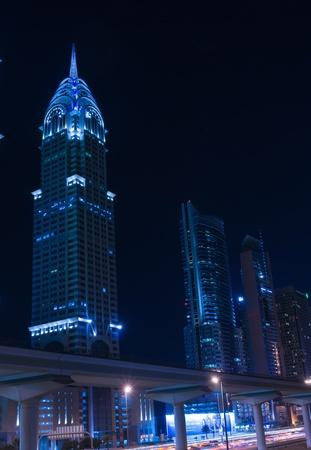 chrysler: DUBAI, UAE-NOVEMBER 14: Night view of the Chrysler building in Dubai on November 14, 2012. Dubai builds two imitations of NYC Chrysler building.