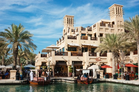 DUBAI, UAE - NOVEMBER 15: Views of Madinat Jumeirah hotel, on November 15, 2012, Dubai, UAE. Madinat Jumeirah - luxury 5 star hotel with own artificial canals and boats. Stock Photo - 19325703