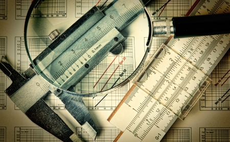 delineation: Old engineering tools on a technical drawing