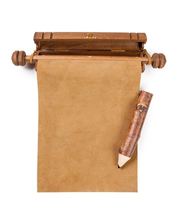 baccalaureate: Blank parchment manuscript and pencil isolated on white background