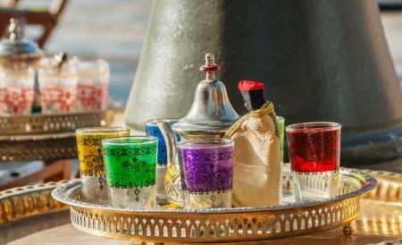 Arabic tea glasses with ornament photo