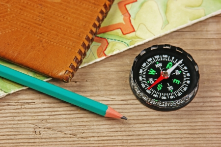 map pencil: old map and compass on a wooden table