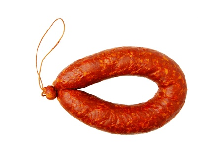 unharmed: Krakow sausage isolated on white background