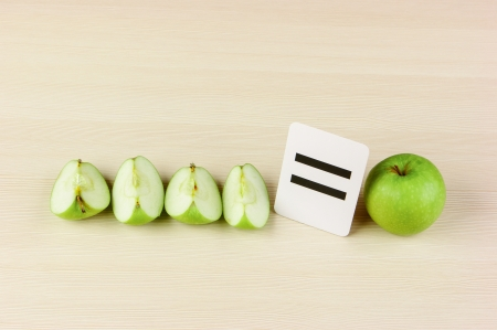 School card and apple with math problems Standard-Bild