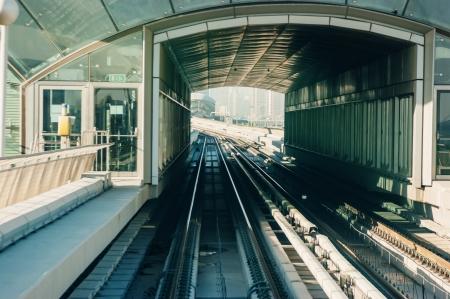 DUBAI, UAE - NOVEMBER 18: Dubai Metro as worlds longest fully automated metro network (75 km) on November 18, 2012, Dubai, UAE.