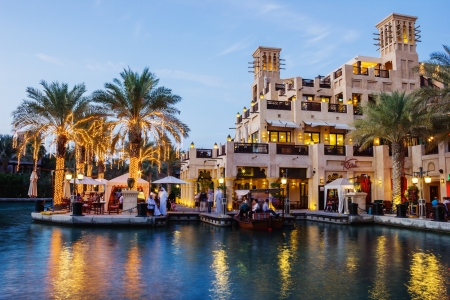 DUBAI, UAE - NOVEMBER 15: Night view of Madinat Jumeirah hotel, on November 15, 2012, Dubai, UAE. Madinat Jumeirah - luxury 5 star hotel with own artificial canals and boats. Stock Photo - 20212410