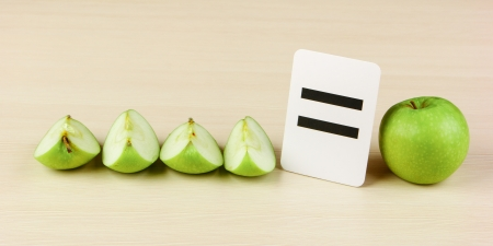 compute: School card and apple with math problems Stock Photo