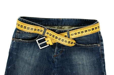 jeans with meter belt slimming isolated on the white background 版權商用圖片