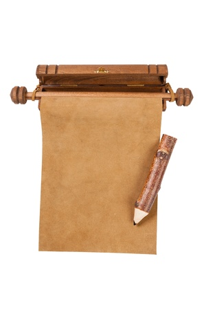 Blank parchment manuscript and pencil isolated on white background  photo