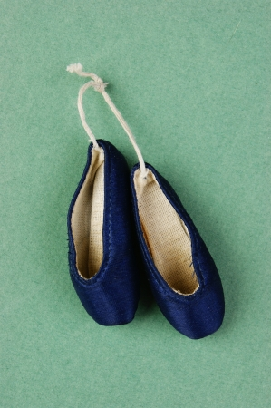 ballet slippers pointe on the green background  photo