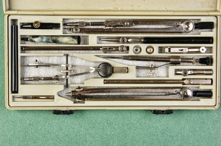 delineation: Old drawing tools in a box on a green background