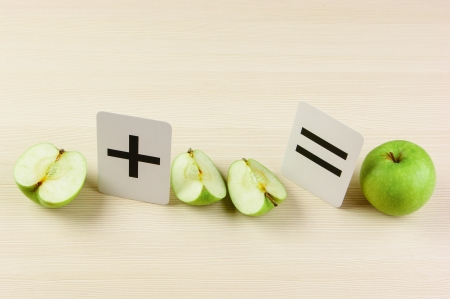 fraction: School card and apple with math problems Stock Photo