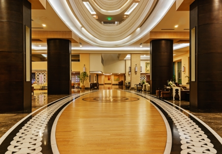 ALANYA, TURKEY - JULY 14  Hall of the hotel Vikingen Quality Resort  Hotel has 450 rooms and 13,000 square meters area on July 14, 2013 in Alanya, Turkey