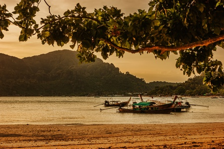 Sunset on the island of Phi Phi Don in Thailand photo