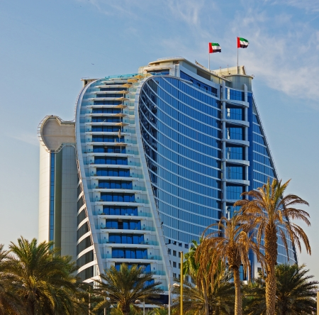 business for the middle: DUBAI, UAE-NOVEMBER 15: Jumeirah Beach Hotel on November 15, 2012 in Dubai. For the 2nd year in a row,hotel was voted the Best Hotel in Middle East at 2011 Business Traveller Awards held in Germany