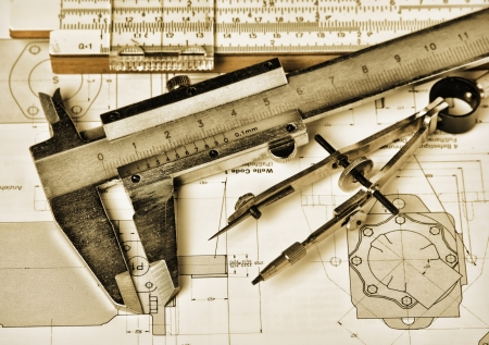 engineering tools and technical drawing photo