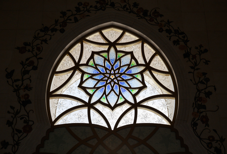 Stained glass window in Sheikh Zayed Mosque, Abu Dhabi, UAE