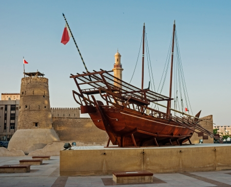 Traditionele Arabische Dhow op het Dubai Museum