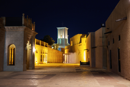 bastakiya: Night view of the streets of the old Arab city Dubai UAE Stock Photo