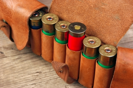 cartridge belt: Old hunting cartridges and bandoleer on a wooden table Stock Photo
