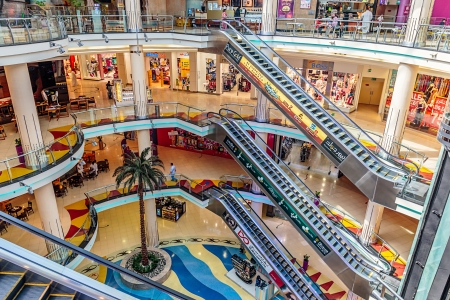 SHARJAH, UAE - OCTOBER 29, 2013: Central Souq Mega Mall opened on December 2001 and becoming one of leading retail and leisure destinations in UAE. It is one of largest malls in UAE at 800,000 sq. ft.