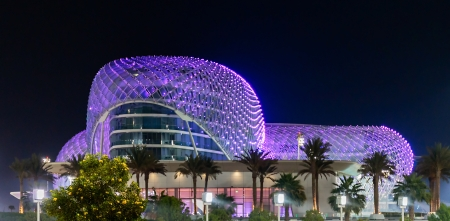 ABU DHABI, UAE - NOVEMBER 5: The Yas Marina Grand Prix Circuit night view on November 5, 2013. This is the first new hotel in the world, which was built during the F1 race circuit.