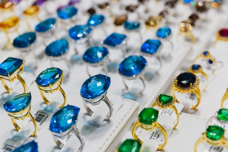 rings with precious stones in the gold market of Dubai photo