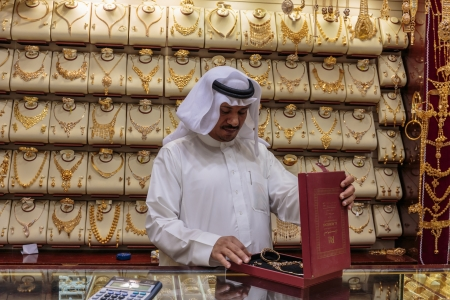 DUBAI, UAE - NOVEMBER 9: Gold market in Dubai on November 9, 2013, Dubai, UAE. The biggest market in Dubai