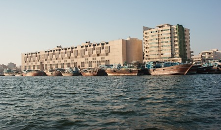 DUBAI, UAE-NOVEMBER 18, 2012: Ship in Port Said. The oldest commercial port of Dubai