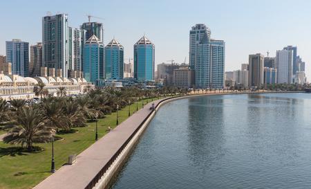 persian gulf: SHARJAH, UAE - OCTOBER28, 2013: Sharjah - general view. Sharjah is located along northern coast of Persian Gulf on Arabian Peninsula