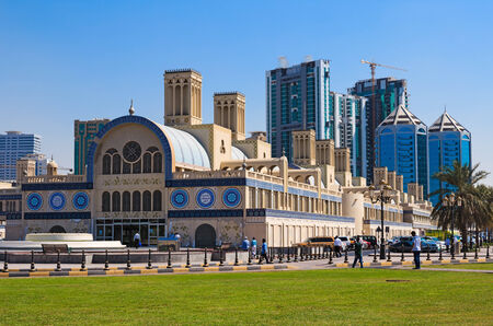 sharjah: SHARJAH, UAE - OCTOBER 28, 2013: Central Souq Mega Mall opened on December 2001 and becoming one of leading retail and leisure destinations in UAE. It is one of largest malls in UAE at 800,000 sq. ft. Editorial