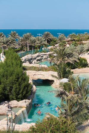 DUBAI, UAE - NOVEMBER 3  Aquaventure waterpark of Atlantis the Palm hotel, located on man-made island Palm Jumeirah on November 3, 2013 in Dubai, UAE