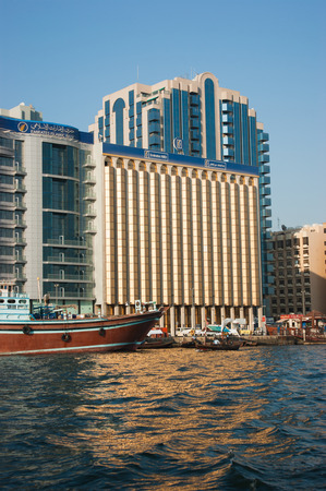 DUBAI, UAE-NOVEMBER 18: Ship in Port Said on November 18, 2012 in Dubai, UAE. The oldest commercial port of Dubai