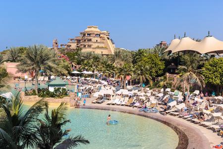 DUBAI, UAE - NOVEMBER 3: Aquaventure waterpark of Atlantis the Palm hotel, located on man-made island Palm Jumeirah on November 3, 2013 in Dubai, UAE
