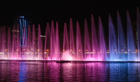 SHARJAH, UAE - OCTOBER 29, 2013  Musical fountain show  The Sharjah Fountain is one of the biggest fountains in the region