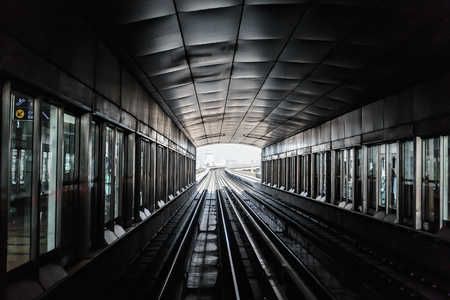 Metro subway tracks in the United Arab Emirates Stock Photo