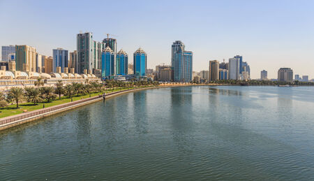 sharjah: View of the embankment of Sharjah Creek Stock Photo