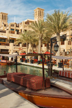 DUBAI, UAE - NOVEMBER 15: Views of Madinat Jumeirah hotel, on November 15, 2012, Dubai, UAE. Madinat Jumeirah - luxury 5 star hotel with own artificial canals and boats.
